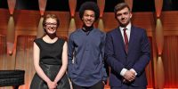 Jess and Ben, flanking the ultimate winner, Sheku Kanneh-Mason (Cello)